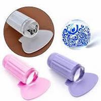 Штамп для стемпинга силиконовый  (прозрачний) розовый или фиолетовый + скребок