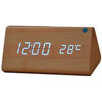Бесплатная доставка Электронные настольные часы под дерево 1301 (подсветка: синий)
