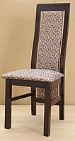 Стул деревянный буковый с мягкими спинкой и сиденьем Катрин, темный орех, ткань Едем 4-7