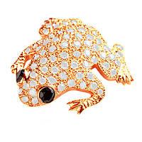 Брошь из красного золота с бриллиантами Сказочная лягушка 000006981