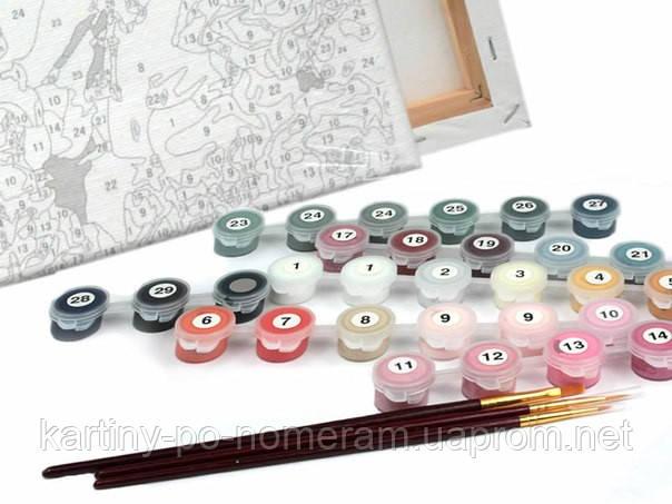краски и кисти в картинах по номерам