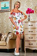 Шифоновое, белое летнее платье,с цветочным принтом, размеры 42-48