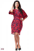 Платье Тулуза (50 размер, красный, цветы) ТМ «PEONY»