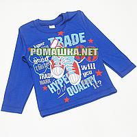 Детский реглан (джепмер, свитшот, футболка с длинным рукавом) р.98 для мальчика ткань 100% хлопок 3695 Синий А