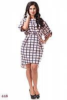 Платье Тулуза (50 размер, темно-синий, клетка) ТМ «PEONY»