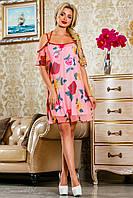 Шифоновое, розовое летнее платье,с цветочным принтом, размеры 42-48