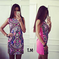 Платье (Фабричный Китай) Сзади змейка креп шифон-не светится длина 83 см . (15408)