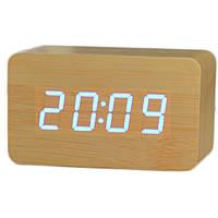 Электронные настольные часы под дерево 1295 (подсветка: синяя)