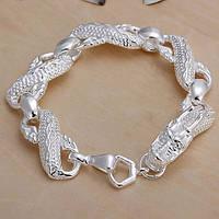 Оригинальный стильный браслет серебро  - Серебряный дракон