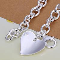 Браслет с изящным серебряным красивым сердечком -серебро