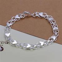 Изящный женский нежный браслет сердечка-серебро 925 пр
