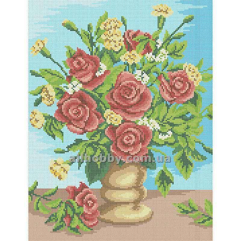 Схема для вышивания бисером Розы и гвоздики БИС3-52 (А3)