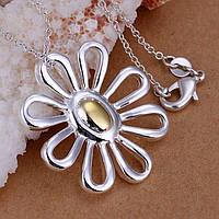 """Кулон """"Цветок"""" на цепочке, серебро"""
