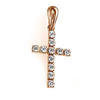 Золотой крестик в красном цвете с бриллиантами Вера 000016029  размера