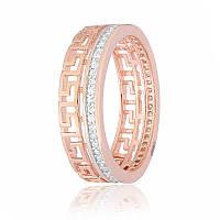 Серебряное кольцо позолоченное с фианитом КК3Ф/218 - 16,8