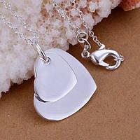 Кулон сердечки на цепочке, серебро