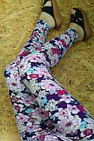 Леггинсы лосины 812 цветочный принт 48-52р опт-розница
