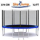 Батут SkyJump 374 см із захисною сіткою і сходами спортивний ігровий, фото 2