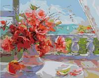 Картина по номерам без коробки Розы на веранде (BK-GX7341) 40 х 50 см
