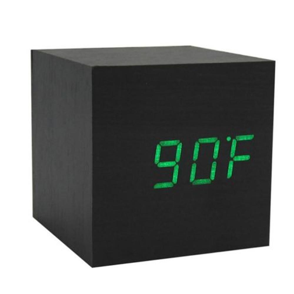 Электронные настольные часы под дерево 1293 (подсветка:  зеленая) + ПОДАРОК: Держатель для телефонa L-301