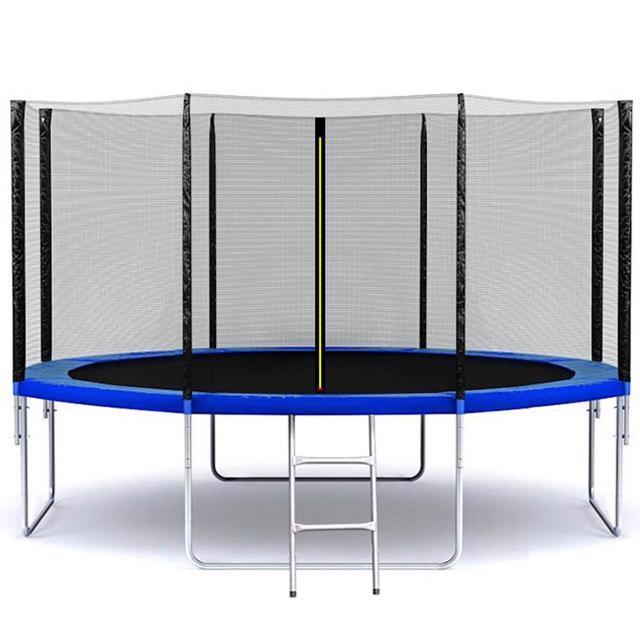 Батут SkyJump 404 см с защитной сеткой и лестницей спортивный игровой (з сіткою та драбиною ігровий)
