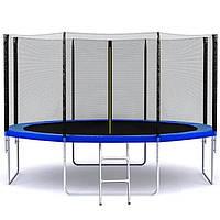 Батут SkyJump 404 см с защитной сеткой и лестницей спортивный игровой (з сіткою та драбиною ігровий), фото 1