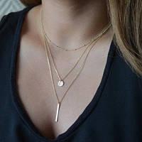 Ожерелье плетение Фигаро - позолоченая цепочка Богема