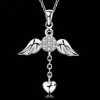 Каменный ангел крыло в форме сердца, серебро