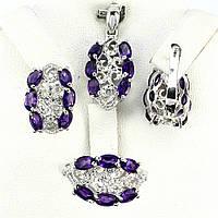 Аметист, серебро 925, комплект кольцо, кулон и серьги, 030КМП