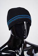 Шапка вязаная на флисе, мужская AG-0002596 (Черно-голубой)
