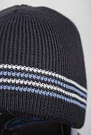 Шапка вязаная на флисе, мужская AG-0002596 (Черно-фиолетовый)