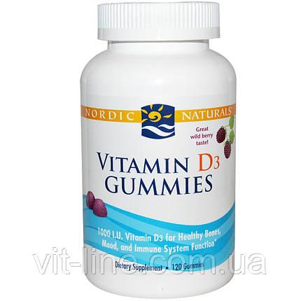 Nordic Naturals, Витамин D3 в форме мишек, со вкусом вишни, 1000 МЕ, 120 мишек, фото 2