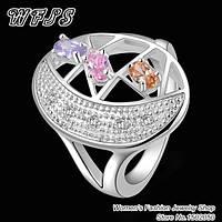 Стильное женское серебряное кольцо, серебро 925 с цирконием