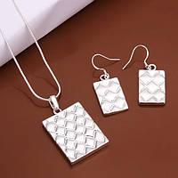 Оригинальный женский серебряный набор Мода- подвеска и серьги
