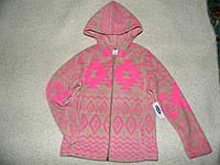 Детская флисовая кофта флиска детская тёплая кофта девочке с капюшоном  р.6/7лет OldNavy, фото 1