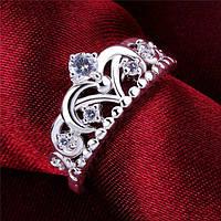 Модное стильное кольцо - инкрустированная корона с фианитами - серебро