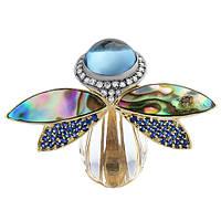 Золотая брошь с бриллиантами, сапфирами, топазом, кварцем и перламутром Грета Ото 000033335