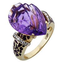 Золотое кольцо с бриллиантами и аметистом Лавандовый пейзаж 000033337 17.5 размера