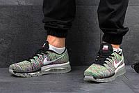 Мужские кроссовки Nike Flyknit Max, текстильная сетка , серо зеленые / кроссовки мужские Найк Флукнайт Макс