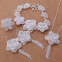 Ювелирный шикарный серебряный набор Цветок ожерелье,браслет,серьги и кольцо