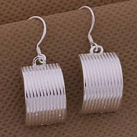 Оригинальные стильные полупластины серебряные серьги