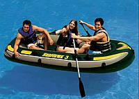 Трехместная надувная лодка С НАДУВНЫМ ДНОМ INTEX 68349 SEAHAWK