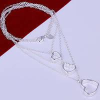 Цепочка ожерелье сердечкаплетение цепочек  -серебро 925 пр