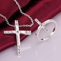 Ювелирный женский оригинальный серебряный набор - подвеска крест и кольцо крест