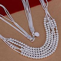 Цепочка ожерелье шарики переплетение  -серебро