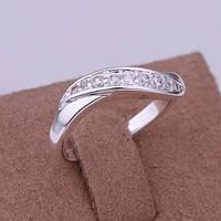 Изящное кольцо с камнями циркония -серебро 925 пр
