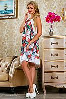 Оригинальное шифоновое платье,чёрно/белое, с цветочным принтом, размеры 42-48
