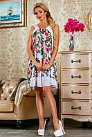 Оригинальное шифоновое платье,белое, с цветочным принтом, размеры 42-48