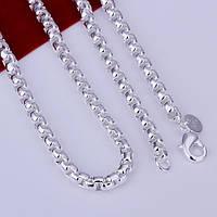 Цепочка красивая оригинальное плетение 5 мм - серебро 925 пр