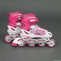 """Ролики 2003 """"L"""" Best Rollers цвет-РОЗОВЫЙ /размер 38-41/ (6) колёса PVC, переднее колесо со светом, в сумке, d"""
